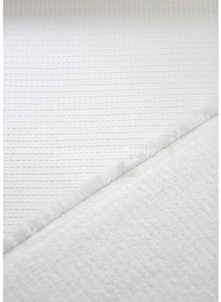 M cloud white  - waffled cotton and terry - double face