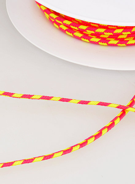 M two tone  braided string - neon pink and yellow 200