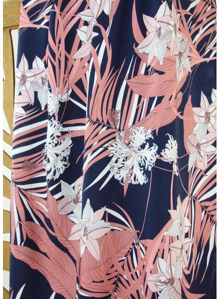 Atelier Jupe blue pink tropical  - viscose