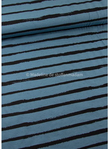 M organic tricot - street art stripes - blauw