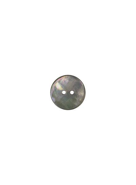 donkergrijs parelmoer knoop - 15 mm
