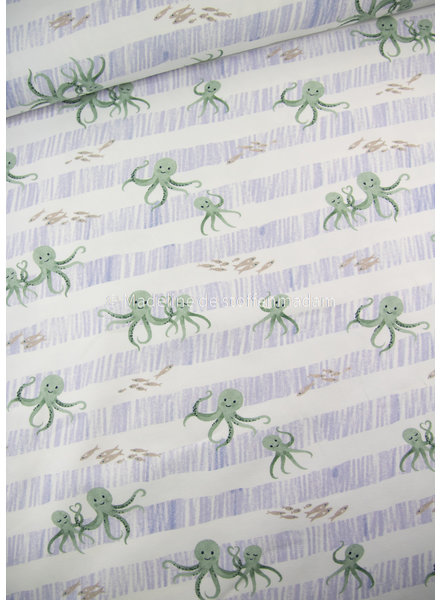 Swafing octopus blauw - tricot