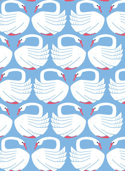 Loving Swans on a spring day - cotton