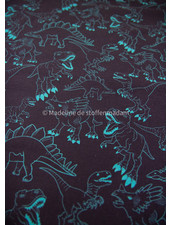 Swafing turquoise dino op marineblauw - tricot