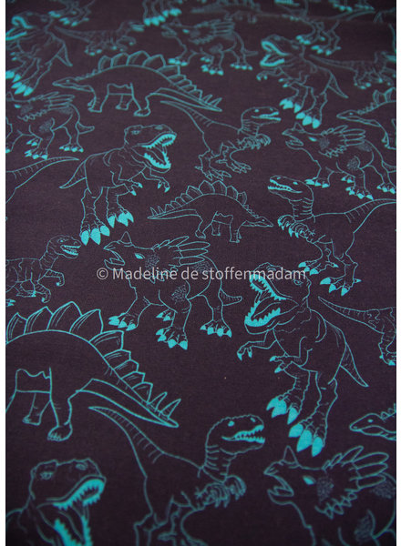 Swafing turquoise dino on navy - jersey