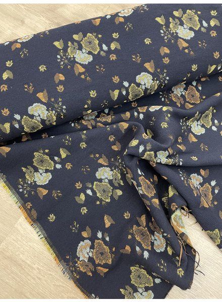 navy flowers - woven jaquard
