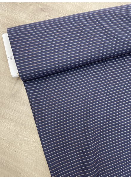La Maison Victor blauw verticale strepen - katoen viscose mix
