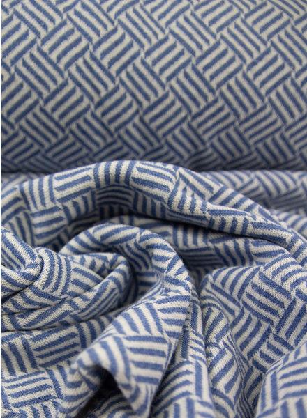 mooie structuur tricot met blauwe lijntjes