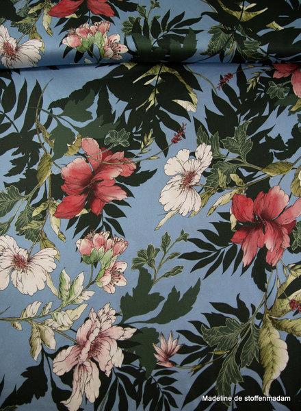 sky blue digital flowers - viscose