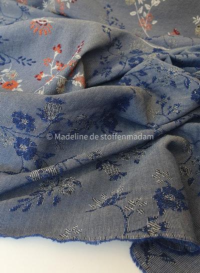 M blauw roest geborduurde katoenmix