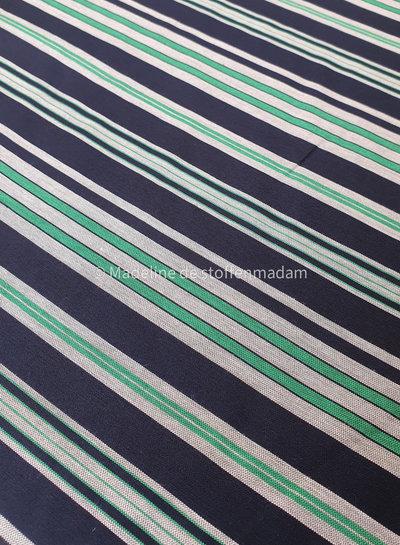 mooie geweven blauw groen gestreepte stof
