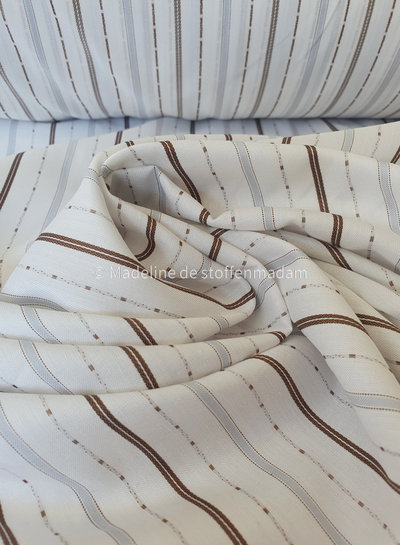 M ecru katoen met geweven strepen - hele mooie hemden kwaliteit