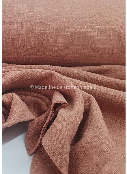 M linen cotton mix double gauze / tetra - dusty pink 830