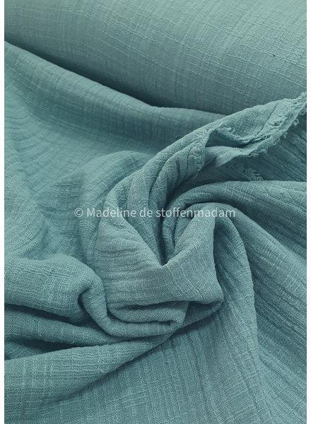 M linen cotton mix double gauze / tetra - dusty blue