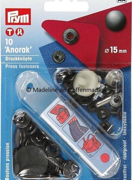 Prym anorak knopen 15mm donker antraciet  - Prym