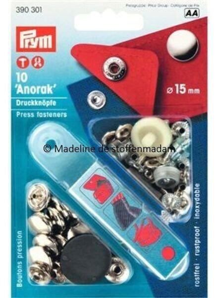 Prym anorak buttons 15mm silver - Prym
