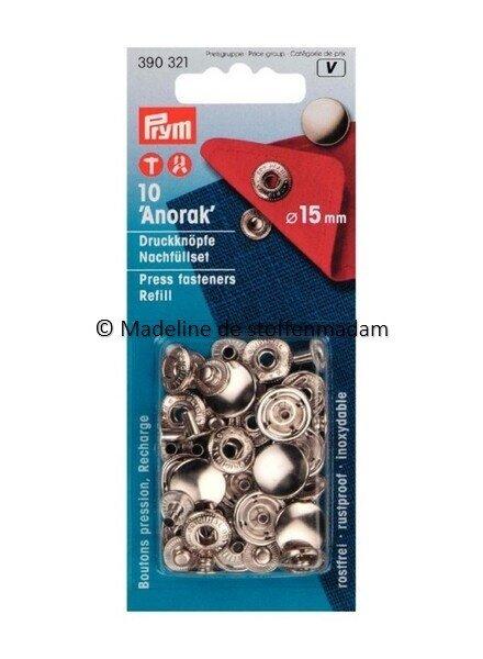 Prym navulverpakking anorak knopen 15mm  nikkel - 10 stuks - Prym
