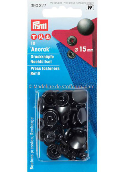 Prym navulverpakking anorak knopen 15mm antraciet - 10 stuks - Prym