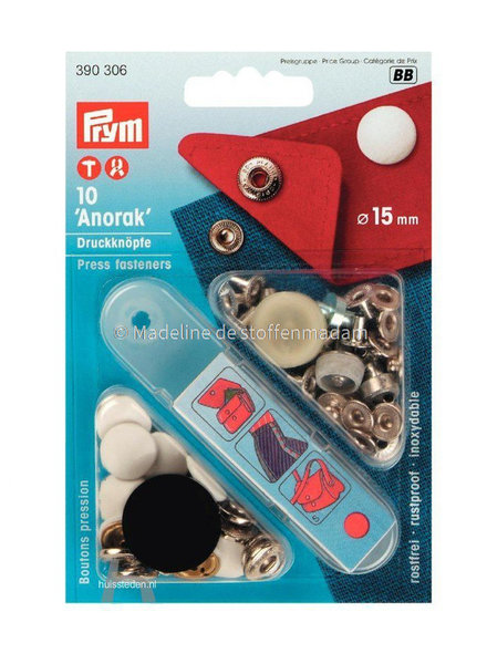 Prym anorak buttons 15 mm white - Prym
