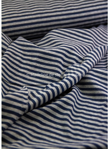 M blauw strepen double face - french terry