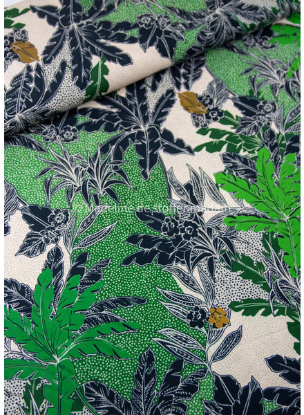 M green and black leaves - viscose