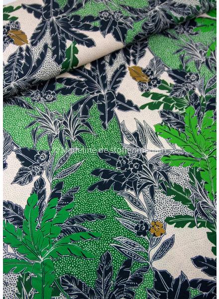 M groen / zwart bladeren - viscose