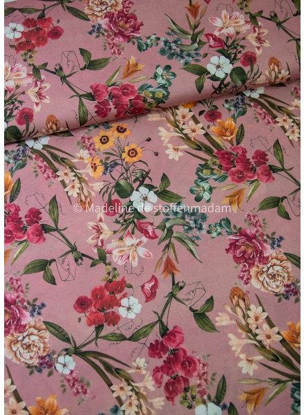 M roze bloemen - stretchkatoen
