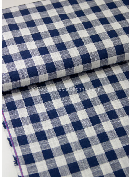M navy vichy squares - Italian linen viscose blend