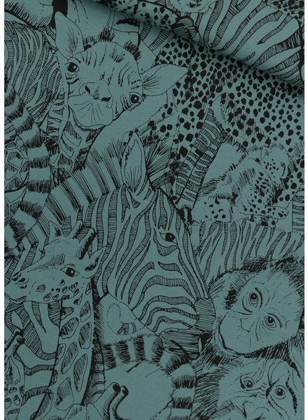See You at Six wild animals noord-atlantisch blauw - french terry