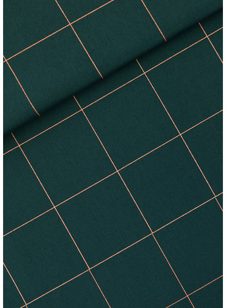 See You at Six Thin Grid - XL - Cotton Canvas Gabardine Twill - Green Gables
