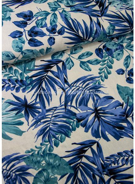 M blue leaves - linnen viscose blend