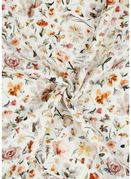 gedroogde bloemetjes  - tetra double gauze