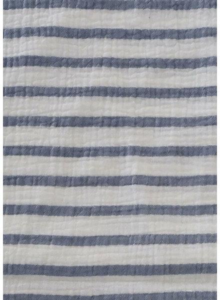 M wit en marineblauw gestreept - double gauze tetra