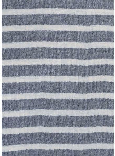 M marineblauw en wit gestreept - double gauze tetra