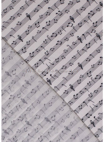 M white keys and musicnotes - cotton