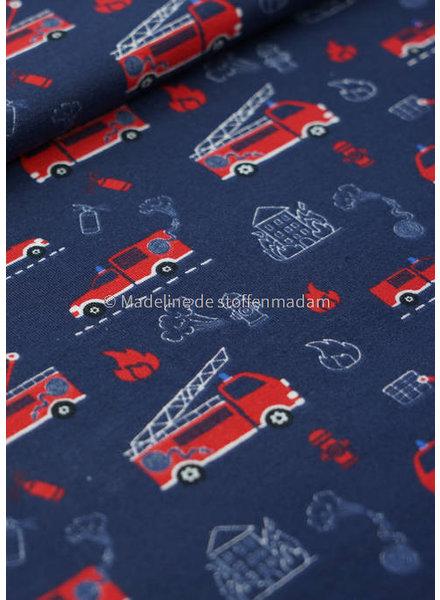 M brandweerwagens marineblauw - tricot