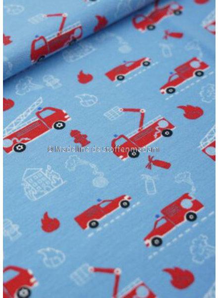 M brandweerwagens lichtblauw - tricot