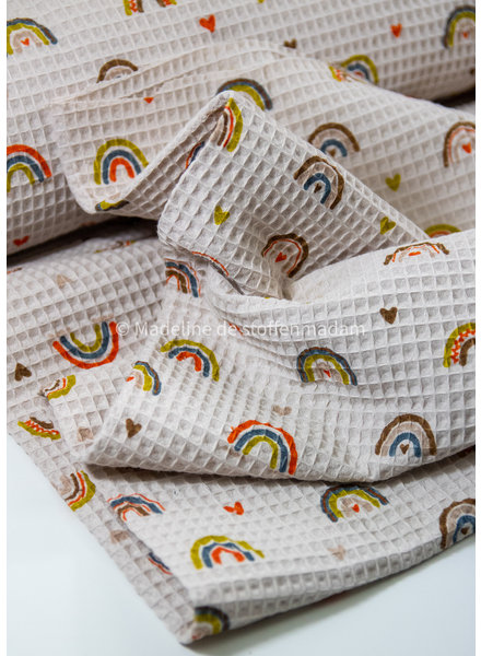 M offwhite with rainbows - soft waffled cotton
