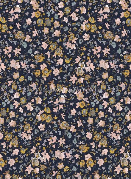 M dryed flowers navy - soft cotton