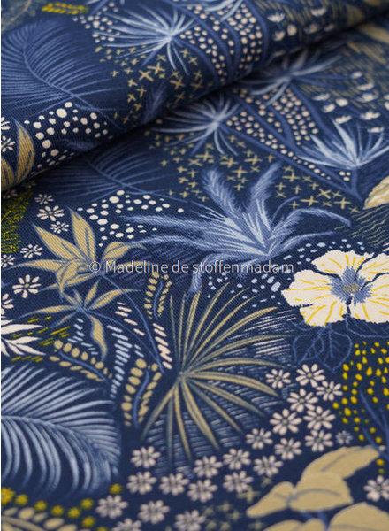 M tropische bloemen blauw -tricot
