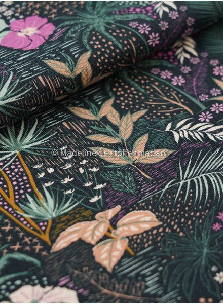 M tropische bloemen lila -tricot
