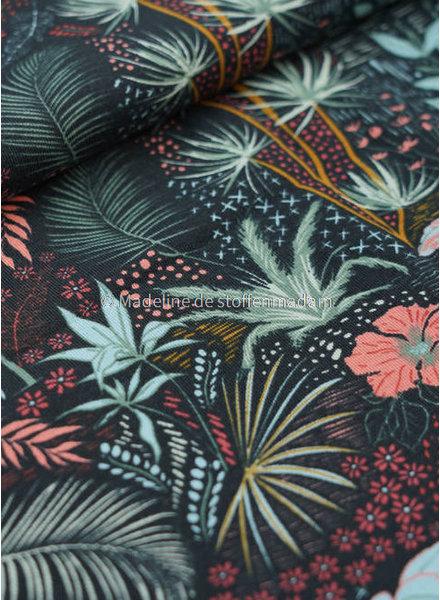 M tropische bloemen oudroze -tricot