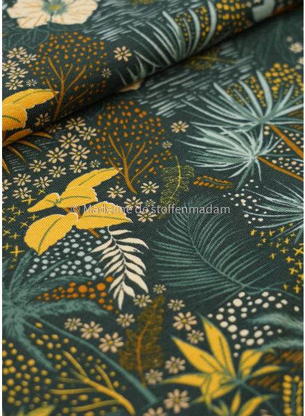 M tropische bloemen oker -tricot