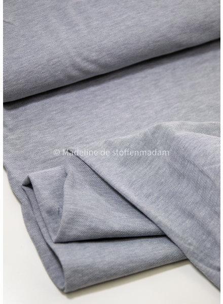 blue melange - polo pique jersey