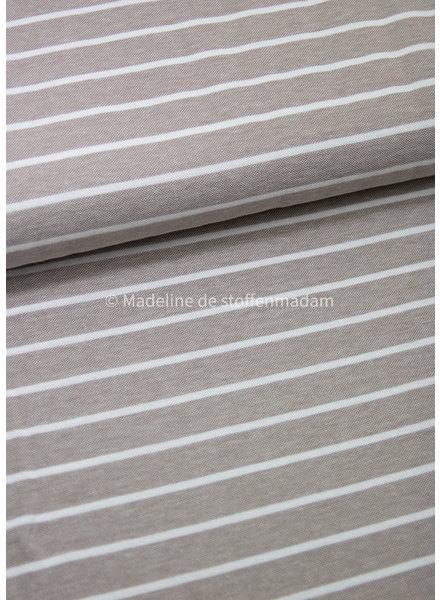 beige stripes melange - polo pique jersey