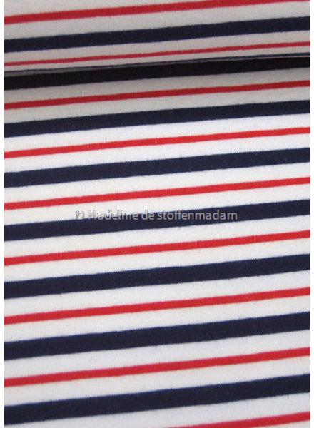 M blauw en rode strepen 001  french terry