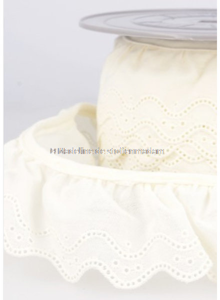 M ruffled cotton embroidery offwhite-  40 mm