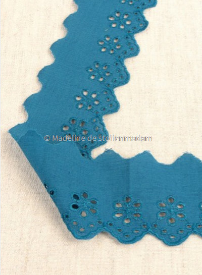 M turquoise - flower pattern embroidery 50 mm  - 1 row