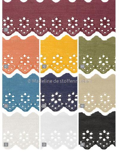 M mokka - flower pattern embroidery 50 mm  - 1 row