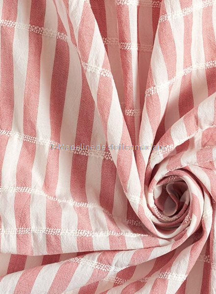 marsala stripes - cotton  with embroidered lines